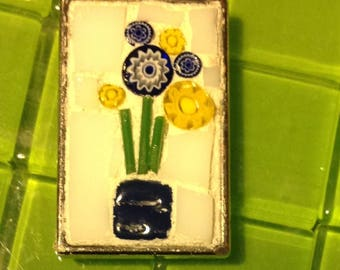 Blue and yellow flower  in vase mosaic with white background rectangle mosaic pendant