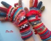Women Size M With Fingers Wool OOAK Ready To Ship Mittens Bohemian Wrist Warmers Winter Fingered Gloves Hand Knitted Striped Multicolor 86