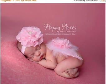 ON SALE PINK Newborn Wings and headband, feather wings, newborn angel wings, newborn photography prop