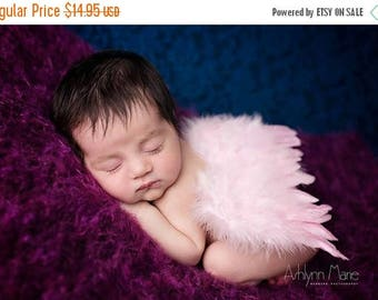 ON SALE Pink Newborn Feather Wings, Angel Wings, Newborn Photography Prop, Baby Wings