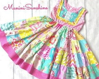 Knit Top Patchwork Sleeveless Twirl Dress