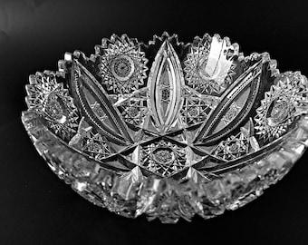 Collectible Brilliant Cut Glass Bowl Cut Crystal Bowl Serving Fruit Bowl