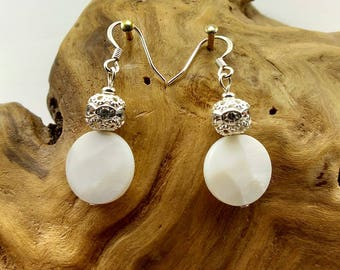 White Faceted Mother of Pearl Earrings with Rhinestone Bead- 177A