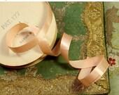 "ON SALE 1 yard  Flapper era ribbon silk satin  peach shade rayon for ribbonwork trim tiny  narrow new old stock 7/16"""