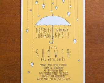 Umbrella hearts digital instant download baby shower invitations with custom typography