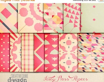 90% OFF Sale Digital Scrapbook Papers - Digital Paper Pack - Fairy floss at the fair