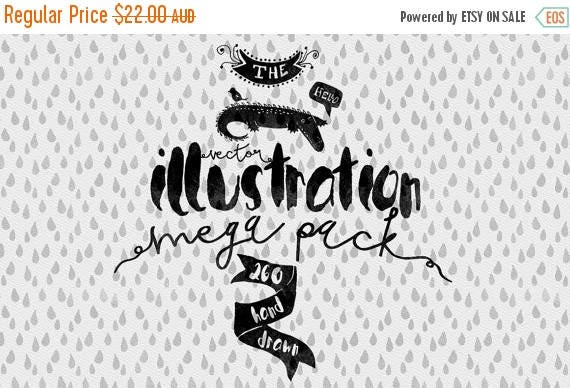 80% Off SALE Vector Illustrations mega pack - Hand Drawn Clip art - Adobe Illustrator, PSD, PNG - Ready for Watercolor