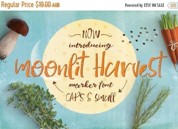 Digital Fonts 80% Off SALE Digital Fonts Moonlit Harvest - Digital Typeface - Hand drawn marker Fonts - Instant Download -