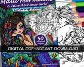 PDF DIGITAL Printable Coloring Book Maui Mermaids & Island Whimsy Girls All Ages Fantasy Fairy Art by Hannah Lynn