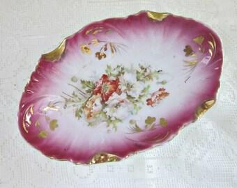 Vintage Victorian Style Ashtray - Ladies Vanity Ashtray - Floral with Gold Porcelain Ashtray - Trinket Dish - Ladies Decor - Bobann23Home