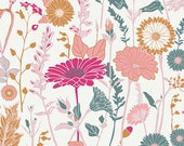 Cream Dusty Aqua and Fuchsia Floral Jersey Knit Fabric, Bachelorette Fusion by Bonnie Christine for Art Gallery Fabrics, 1 yard Jersey KNIT