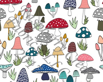 Mustard Navy Teal Grey and Red Mushroom 4 Way Stretch FRENCH TERRY Knit Fabric, Woodland By Ella Randall for Club Fabrics
