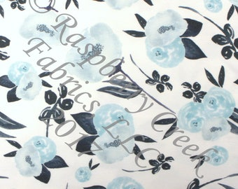 Navy and Light Blue Tonal Watercolor Floral 4 Way Stretch FRENCH TERRY Knit Fabric, Fall Floral for Club Fabrics