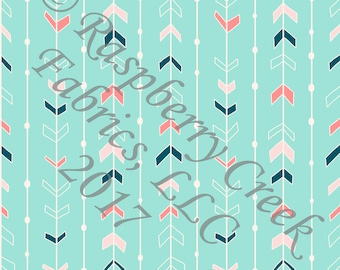 Mint Pink Salmon and Teal Arrows with Ivory Stripe 4 Way Stretch FRENCH TERRY Knit Fabric, Moody by Kimberly Henrie for Club Fabrics