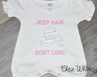 Baby Girl Outfit, Jeep Hair One All, Jeep Hair Don't Care, White Onesie, Glitter Jeep Romper, Baby Girl Clothes, Sassy Baby Romper