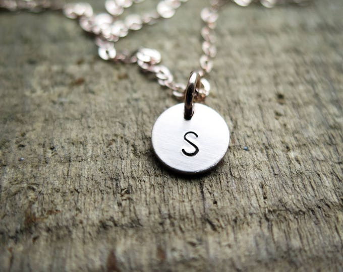 SALE - Rose Gold Fill Dainty S Initial Necklace - Hand Stamped Jewelry by Betsy Farmer Designs