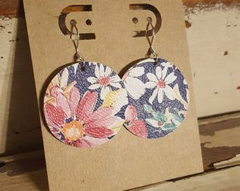 Leather Earrings, Floral, Statement Earrings, 100% Leather, Circle, Lightweight