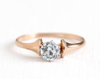 Vintage 10k Rose Gold .54 CT Blue Topaz Ring - Size 8 Antique Art Deco 1930s Aqua Blue Gemstone Fine Birthstone Jewelry