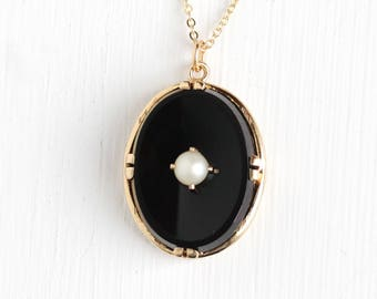 Vintage 10k Rosy Yellow Gold Onyx & Pearl Pendant Necklace - Mid Century 1940s Black Gemstone Fine Gold Jewelry