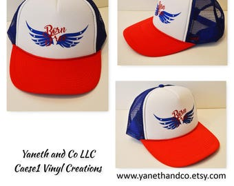 July 4th Trucker Hat Born Free,Born Free Glitter Trucker hat,Blue wings with stars, American trucker hat,Red white and blue trucker hat