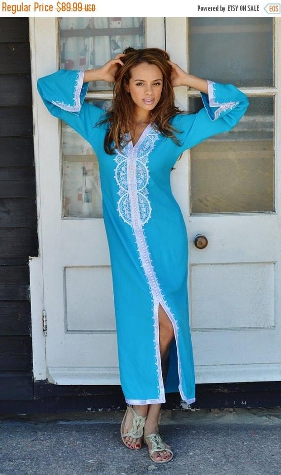 25% OFF Autumn Sale// SPRING TREND | Turquoise Blue Caftan Kaftan Maxi Dress -Lella -loungewear, resortwear,spa robe, Wedding, Birthdays or