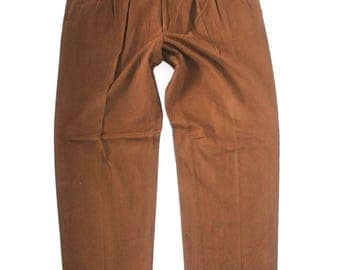 Men's Vintage JEAN SAVELLE By HILTL Zip Fly High Waist Pleated Baggy Brown Cotton Chino Pants W38 L31