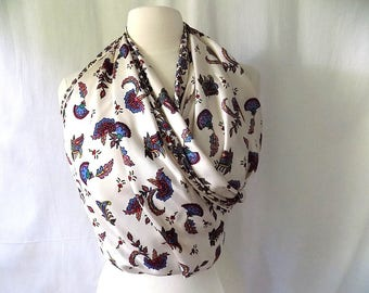 Vintage Silk Scarf XL Square All-Over Print on White with Hand Rolled and Hand Sewn Edges