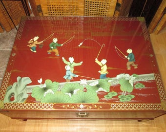 Vintage Asian Hand Painted Red Trunk Coffee Table With Glass Top    Hollywood Regency Style