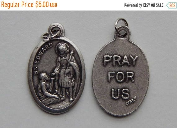 CLOSING SALE 5 Patron Saint Medal Findings - St. Edward, Die Cast Silverplate, Silver Color, Oxidized Metal, Made in Italy, Charm, Drop, RM4