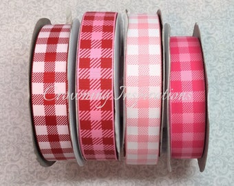 7/8 PLAID Choose Red and Pink US Designer ribbon