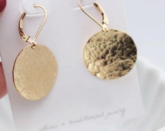 gold hammered circle earrings, classic every day jewelry, 14k gold filled or sterling silver, timeless gift for her, malisay designs