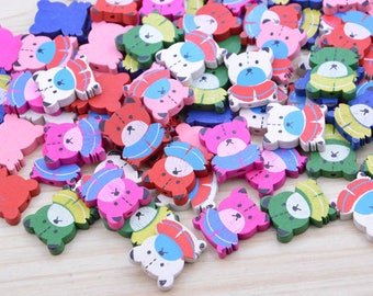 50 Assorted color wooden beads, Bear Painted wooden beads, Jewelry wood beads, Colorful wood Bear, wood bear pendant, wood bear bead 19x23mm