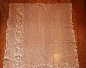 Antique Vintage Lace Netting Curtain Panel Point D'esprit Net Lace