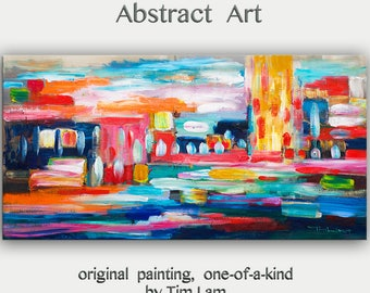 """sale Large 48"""" Wall Art Acrylic Painting abstract Wall Decor colorful Surreal Painting Canvas Art modern Art, Wall Hanging Home Deco by Tim"""