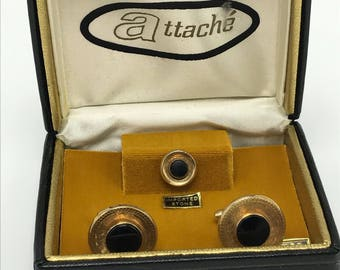 Attache Gold Tone Black Stone Cuff Links Tie Tack Pin Vintage 1950s Original Box NOS