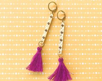 Gold Brass Purple Rhinestone Tassel Dangle Earrings Long Bar Drops Boho Gypsy Bohemian Leverback Lightweight Orchid Plum Purple Under 25