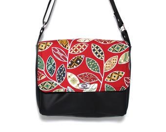 Red messenger bag, small vegan messenger bag, vegan cross body bag, black purse, floral fabric, botanical print, crossbody bag, Red Karma