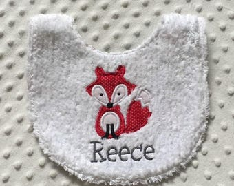 Baby Boy Personalized  Bib, Red Fox Theme Personalized with Child's Name