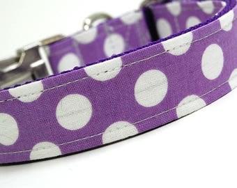 Handmade Dog Collar - Lavendar Polka Dots - Custom Made Purple and White Polka Dot Dog Collar - Collar with Dots