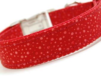 Handmade Dog Collar - Red Dots Batik - Custom Made Red Polka Dot Dog Collar - Collar with Dots