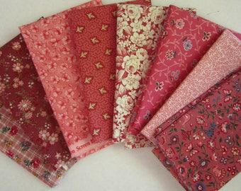 8 Assorted Pink and Mauves Calico Fabric Scraps, Fat Sixteenths Calico Cotton Fabric Remnants, Quilting, Sewing Set 2