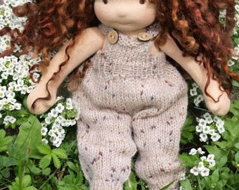 Waldorf Doll Clothes - Knitted Overalls - Beige color knitted overall - fits 9 - 10 inch dolls