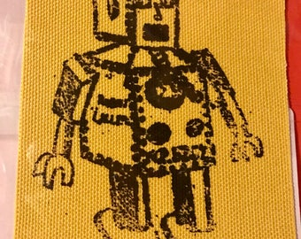 colored duck cloth screen printed robot patch