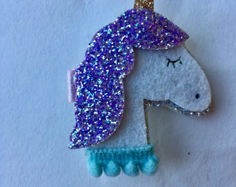 Adorable glitter unicorn and shooting star hair clips