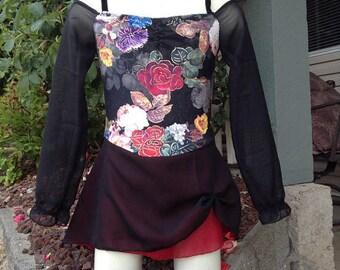 Off the shoulder Rose print figure skating dress - Adult sizes