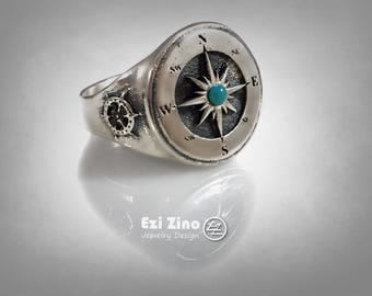 Natural Turquoise compass signet ring Solid Silver Sterling 925 by EZI ZINO