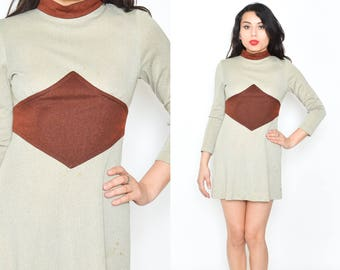 GOLD BROWN MOD Vintage 60'S Mini Dress. A Line Mini Dress. 60's Hippie Boho Mod Long Sleeve Dress. Round NeckGold Shimmer Brown /Small X Sml