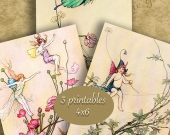 4x6 inch Digital Set of 3 FAIRY BOOK ART Set No. 1  - Digital Printables for Framing or Crafting...Garden Fairies by Warwick Goble