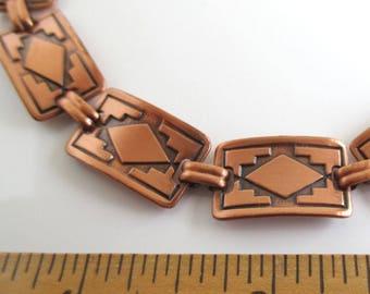 """Solid Copper Link Bracelet - Vintage Southwestern / Western, 7 1/4"""""""