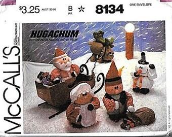 Hugachums Santa, Mrs. Claus, Elf,Snowman, Reindeer Patterns M8134